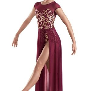 Gorgeous Sequined Dance Costume with Long Skirt